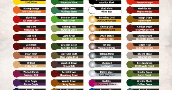 Citadel Paint Colors Chart